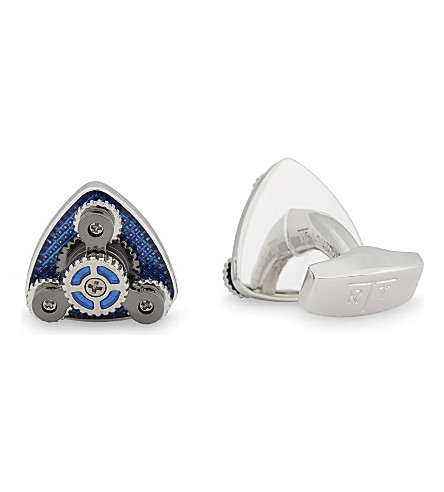 TATEOSSIAN Gear Trio rhodium plated cufflinks (Rhodium+plated