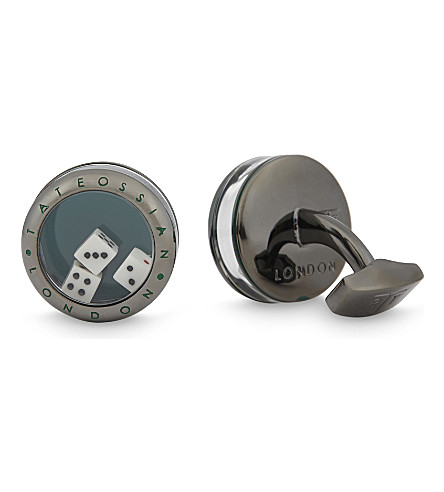 TATEOSSIAN Dice cufflinks (Gunmetal