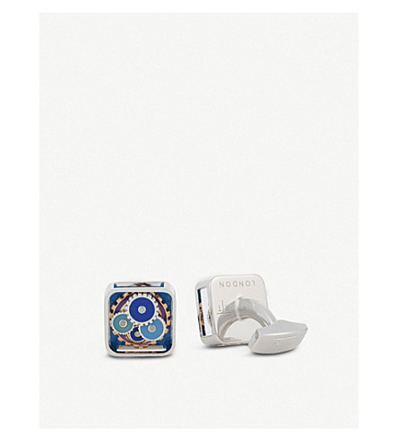 TATEOSSIAN Multi-coloured gear cufflinks (Silver