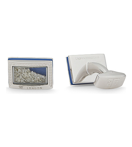 TATEOSSIAN Diamond dust rhodium plated cufflinks (Silver