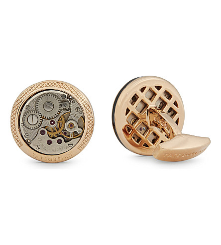TATEOSSIAN Limited Edition Vintage Skeleton rose gold plated cufflinks (Rose+gold