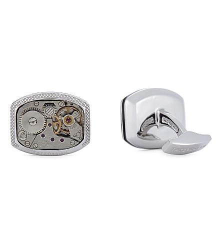 TATEOSSIAN Rhodium vintage skeleton watch cufflinks (Silver