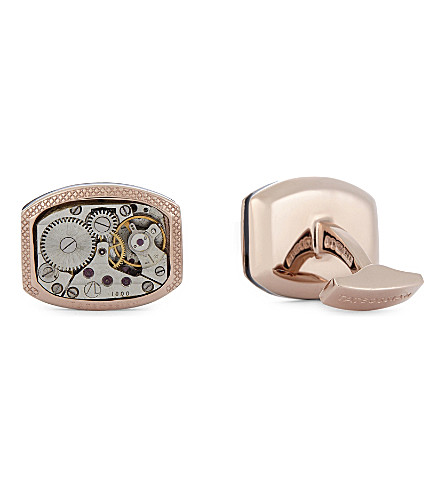 TATEOSSIAN Two-micron rose-gold-plated vintage skeleton watch cufflinks (Silver+rose+gold