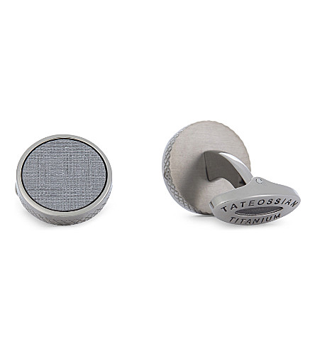 TATEOSSIAN Round leather cufflinks (Titanium