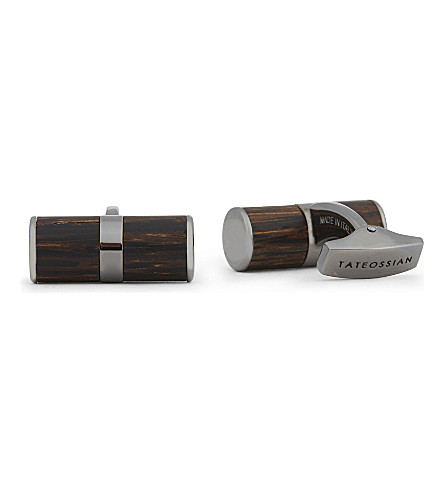 TATEOSSIAN Palma Nera black rhodium and wood cufflinks (Silver