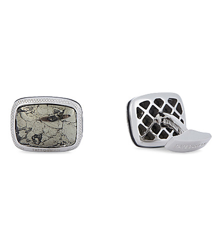 TATEOSSIAN Pyrite in Quartz silver cufflinks (Silver