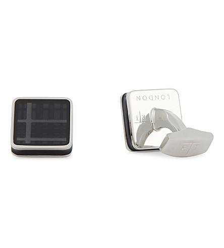 TATEOSSIAN Tartan Ice cufflinks (Grey+silver