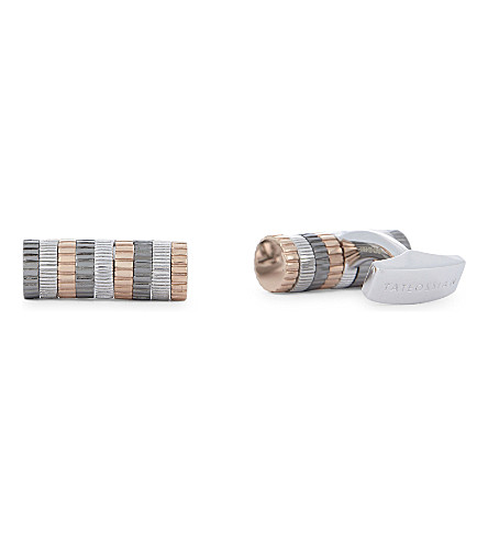 TATEOSSIAN Ribbed cylinder sterling silver cufflinks (Pink