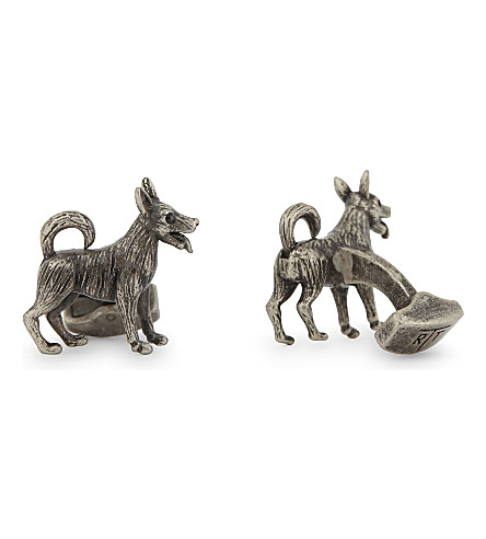 TATEOSSIAN Dog cufflinks (Rhodium