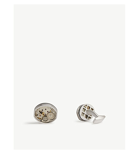 TATEOSSIAN Tonneau rhodium-plated cufflinks (Rhodium