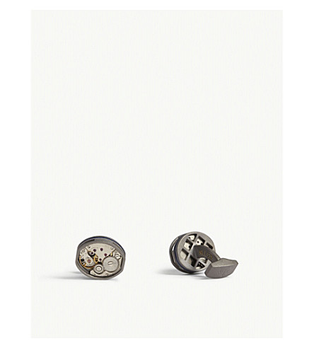 TATEOSSIAN Tonneau skeleton gunmetal cufflinks (Gunmetal