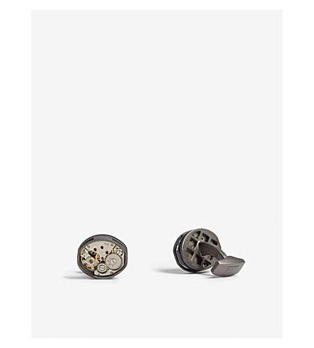 TATEOSSIAN Tonneau skeleton gunmetal cufflinks (Silver