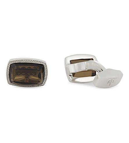 TATEOSSIAN Neon Quartz square cufflinks (Brown