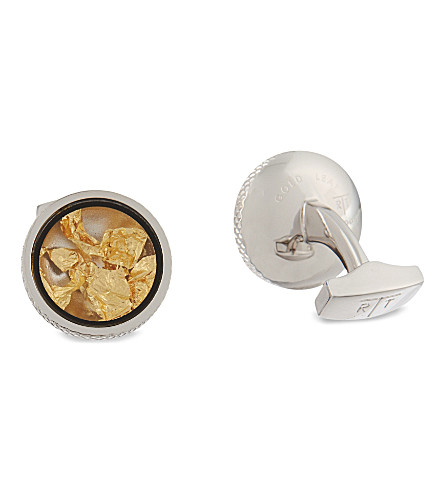 TATEOSSIAN Gold leaf cufflinks and stud set (Gold