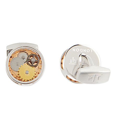 TATEOSSIAN Gear cufflinks and stud set (Silv/gold