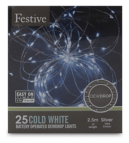 OUTDOOR LIGHTS 25 cold white dewdrop string light