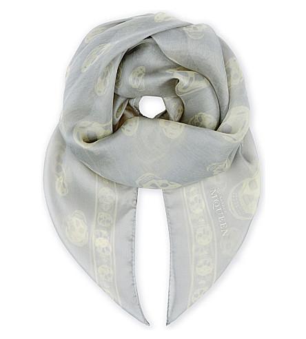 ALEXANDER MCQUEEN Skull silk scarf (Ice+blue+white