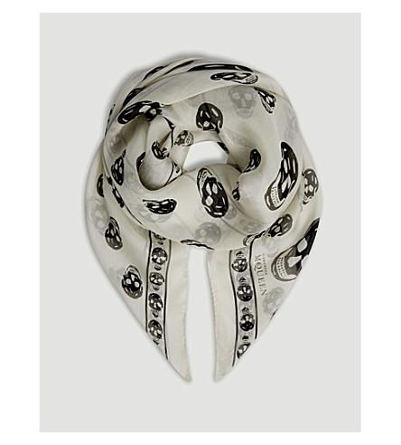 ALEXANDER MCQUEEN Skull print silk scarf (Ivory/black