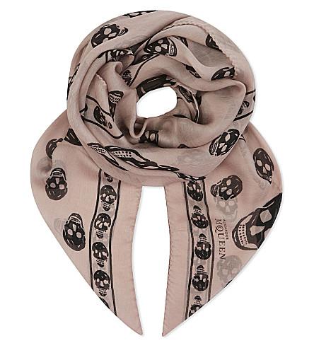 ALEXANDER MCQUEEN Skull print silk scarf (Antqiue+rose+blk