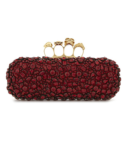 ALEXANDER MCQUEEN Jewel cluster knuckle clutch (Red