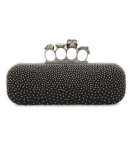 ALEXANDER MCQUEEN Leather studded knuckleduster clutch (Black+silver