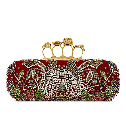 ALEXANDER MCQUEEN Swarovski crystal knuckle clutch (Red+velvet+sequin