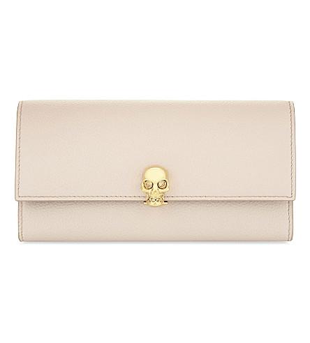 ALEXANDER MCQUEEN Skull leather contiental wallet (Nude