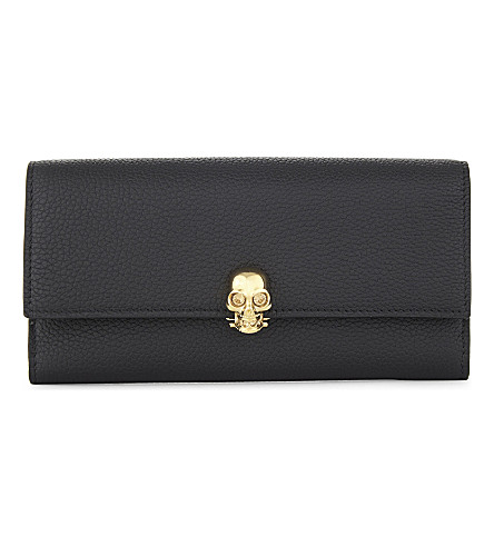 ALEXANDER MCQUEEN Continental leather skull wallet (Black+gold