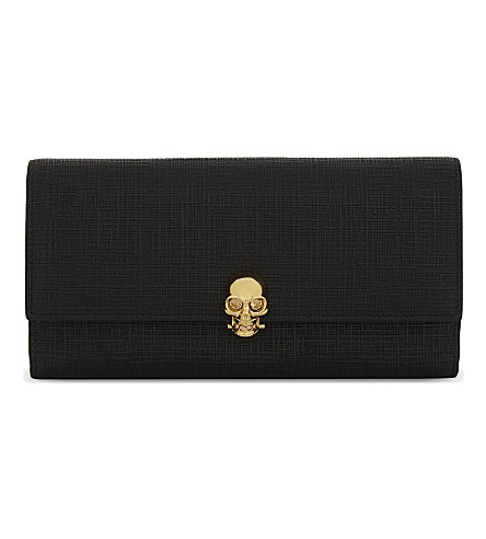 ALEXANDER MCQUEEN Skull clasp embossed leather wallet (Black+gold
