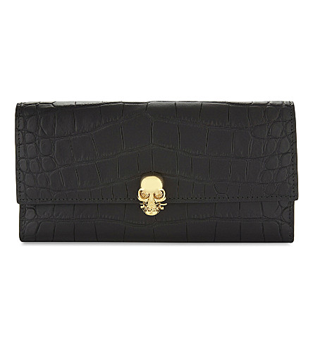 ALEXANDER MCQUEEN Skull croc-embossed leather wallet (Black