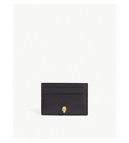 ALEXANDER MCQUEEN Skull leather card holder (Black+gold