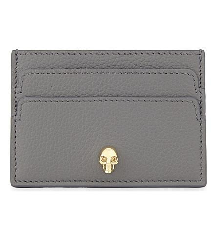 ALEXANDER MCQUEEN Skull leather card holder (Graphite+gold