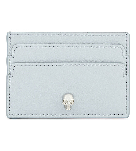 ALEXANDER MCQUEEN Skull leather card holder (Duck+egg