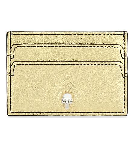 ALEXANDER MCQUEEN Skull metallic leather card holder (Gold