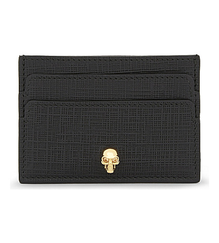 ALEXANDER MCQUEEN Skull Saffiano leather card holder (Black