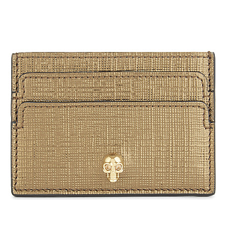 ALEXANDER MCQUEEN Leather skull card holder (Gold