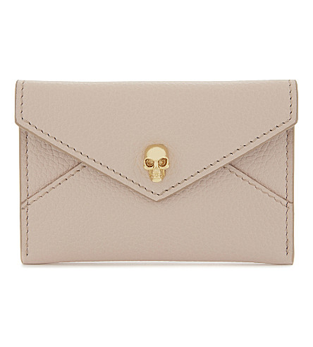 ALEXANDER MCQUEEN Skull leather card holder (Nude