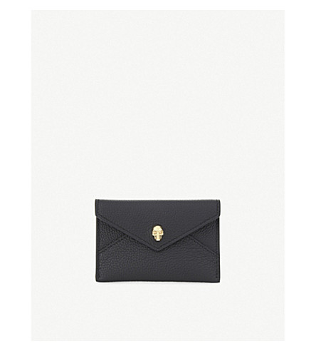 ALEXANDER MCQUEEN Skull envelope card holder (Black+gold