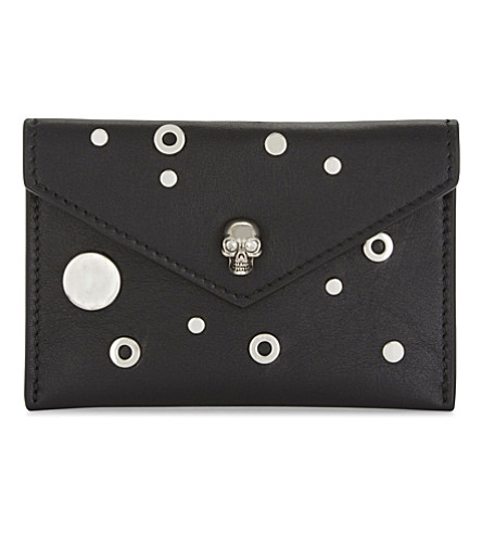 ALEXANDER MCQUEEN Skull leather card holder (Black