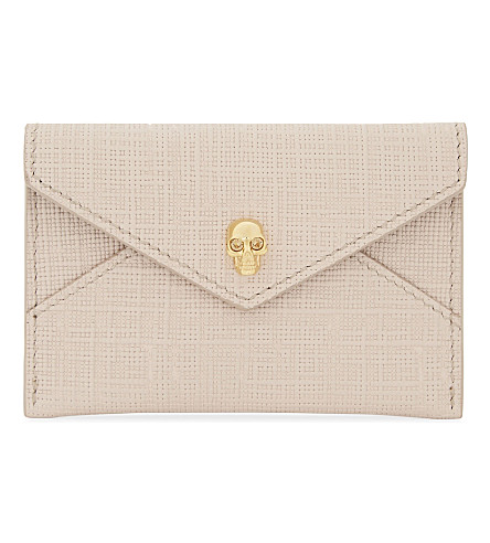 ALEXANDER MCQUEEN Envelope skull Saffiano leather card holder (Nude