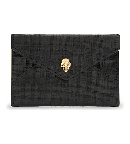 ALEXANDER MCQUEEN Skull leather envelope card holder (Black+silver