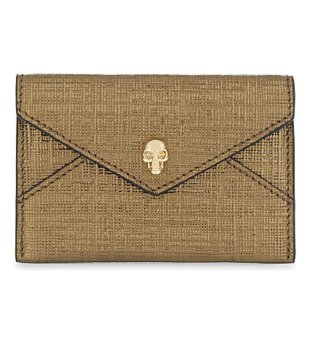 ALEXANDER MCQUEEN Skull envelope leather card holder (Gold