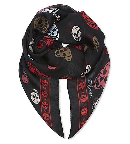 ALEXANDER MCQUEEN Skull & stars silk-chiffon scarf (Black+red