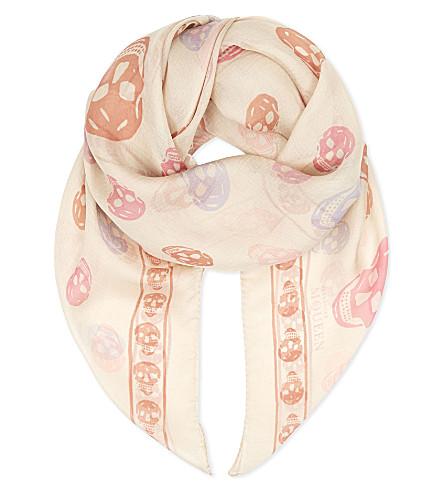 ALEXANDER MCQUEEN Skull & stars silk-chiffon scarf (Ivory pink multi
