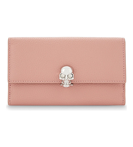ALEXANDER MCQUEEN Skull small grained leather purse (Petale pink