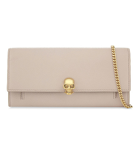 ALEXANDER MCQUEEN Skull grained leather wallet-on-chain (Light+nude