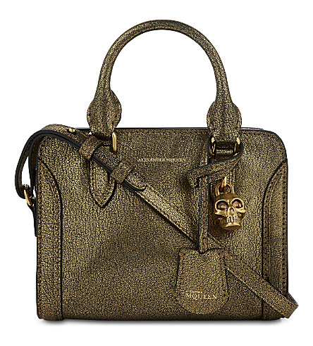 ALEXANDER MCQUEEN Padlock metallic leather cross-body bag (Antique gold