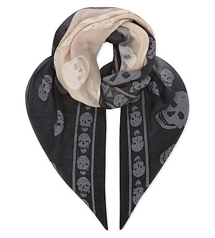 ALEXANDER MCQUEEN Ombré skull modal-blend scarf (Black+nude