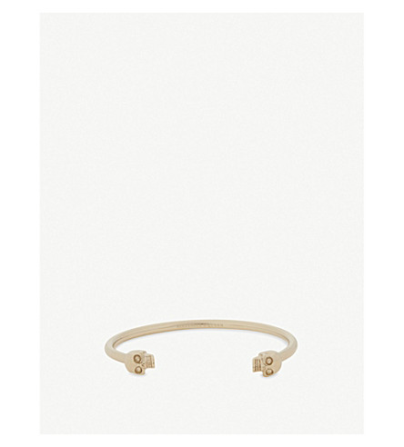 ALEXANDER MCQUEEN Twin skull bangle bracelet (Gold
