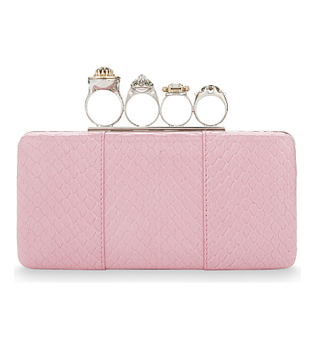 ALEXANDER MCQUEEN Ring leather knuckleduster clutch (Pink